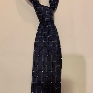 Perry Ellis portfolio navy white geometric tie